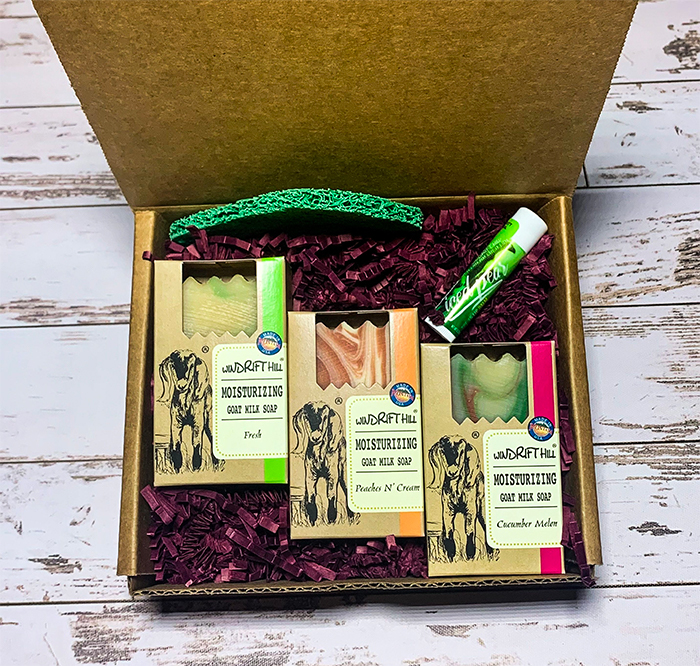 trio goat milk soap gift set with lip balm and soap lift